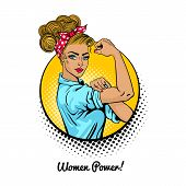 Women Power. Pop Art Sexy Strong Blonde Girl In A Circle On White Background. Classical American Sym poster