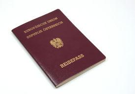 stock photo of passport template  - European Passport on a white background isolated  - JPG