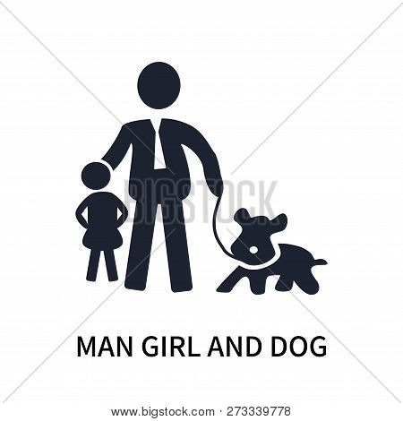 poster of Man Girl And Dog Icon Isolated On White Background. Man Girl And Dog Icon Simple Sign. Man Girl And