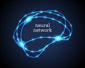 Neural Network Logo Vector Illustration. Human Luminescent Brain Symbol With Lights In Blue Color On poster