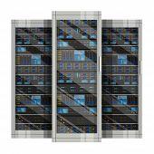 Three Server Racks With Equipment, Data Center On White Background ,illustration Of Network Server,  poster