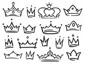 Sketch Crown. Simple Graffiti Crowning, Elegant Queen Or King Crowns Hand Drawn Vector Illustration poster