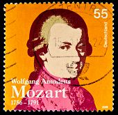 GERMANY - CIRCA 2006: a stamp printed in Germany shows image of Wolfgang Amadeus Mozart and commemor