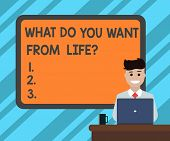 Text Sign Showing What Do You Want From Lifequestion. Conceptual Photo Express The Things You Would  poster