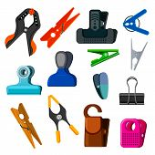 Clothespin Vector Clothespeg And Office Clamp Clip Holding Tool Pin For Laundry Illustration Set Of  poster