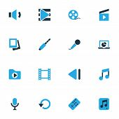 Multimedia Icons Colored Set With Replay, Slow Backward, Clapperboard And Other Audio Elements. Isol poster
