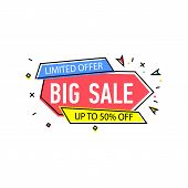 Big Sale Sticker In Trendy Linear Style. Retail Marketing, New Advertising Campaign, Holiday Shoppin poster