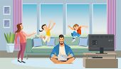 Busy Father Working At Home Cartoon Vector Concept With Dad Sitting On Floor In Living Room Interior poster