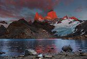 Laguna de Los Tres and mount Fitz Roy, Dramatical sunrise, Patagonia, Argentina poster