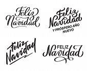Feliz Navidad - Merry Christmas From Spanish. Collection Of Hand-written Texts, Typography, Calligra poster