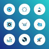 Audio Icons Colored Set With Megaphone, Equalizer, Phonograph And Other Tambourine Elements. Isolate poster
