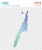 Cebu Polygonal Map, Mosaic Style Island. Magnificent Low Poly Style, Modern Design. Cebu Polygonal M poster