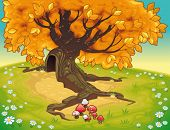 Tree in autumnal landscape. Vector coloured illustration
