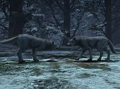 3d Rendering Of Couple Wolves On  Winter And  In The Wild, Wolves Male And Female poster