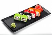 Various Of Sushi Roll - Maki Sushi With Green, Red And Black Caviar, Crab Meat, Cucumber, Avocado An poster