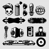 Street Culture Icons Set. Hip-hop And Rap Signs Collection On Isolated Background. poster