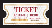 Admission Ticket Template. Vector Mockup Movie Ticket (tear-off) With Gold Border On Silver Backgrou poster