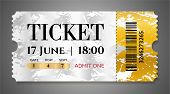 Admission Ticket Template. Vector Mockup Movie Ticket (tear-off) With Golden Grunge Pattern, Silver  poster