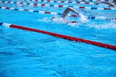 Swimmers during competition