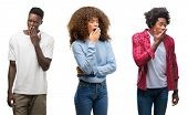 Collage of african american group of people over isolated background bored yawning tired covering mo poster