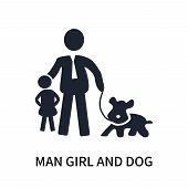 Man Girl And Dog Icon Isolated On White Background. Man Girl And Dog Icon Simple Sign. Man Girl And  poster