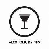 Alcoholic Drinks Icon Isolated On White Background. Alcoholic Drinks Icon Simple Sign. Alcoholic Dri poster