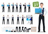 Business Man Vector Character Creation Set With Male Office Person Showing Laptop Screen In Differen poster