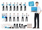 Male Business Person Vector Character Creation Set With Young Professional Man Holding Laptop Showin poster