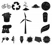 Bio And Ecology Black Icons In Set Collection For Design. An Ecologically Pure Product Vector Symbol poster