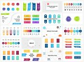 Vector Banners Infographic Templates Set. Arrows, Brush Strokes, Quotes. Stickers Presentation Slide poster