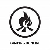 Camping Bonfire Icon Isolated On White Background. Camping Bonfire Icon Simple Sign. Camping Bonfire poster