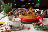 New Year And Christmas Background. Christmas Cake, New Year And Christmas Composition,  New Year And poster