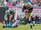CHARLOTTE, NC - OCT 09, 2011:  Saints Running Back, Darren Sproles, runs for yardage against the Car