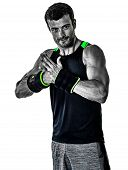 fitness man cardio boxing exercises isolated poster
