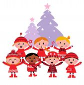 Cute Multicultural Caroling Children, Christmas Tree.