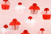 Paper Cupcakes Celebration Decoration. Holiday Party Concept . Living Coral Theme - Color Of The Yea poster