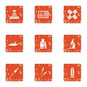 Difficult Material Icons Set. Grunge Set Of 9 Difficult Material Icons For Web Isolated On White Bac poster