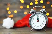 Midnight Clock And Santa Hat. New Years Countdown poster