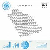Saudi Arabia People Icon Map. People Crowd In The Shape Of A Map Of Saudi Arabia. Stylized Silhouett poster
