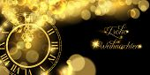Happy New Year Luxury Golden Web Banner Illustration In German Language, Clock Marking Midnight Time poster