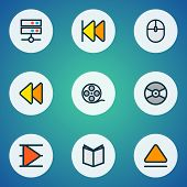 Multimedia Icons Colored Line Set With Previous, Film Reel, Vinyl And Other Control Device Elements. poster