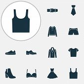 Garment Icons Set With Evening Gown, Gumshoes, Male Footwear And Other Sundress Elements. Isolated   poster