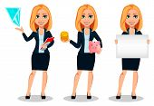 Business Woman In Office Style Clothes, Set Of Three Poses. Modern Lady Businesswoman Shows Hologram poster