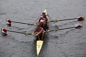Harvard University Mens Fours races in the Head of Charles Regatta