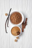Top View Of Brown Cinnamon Granulated And Cane Cubes Sugar With Cocoa Powder And Spices For Confecti poster