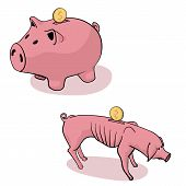 Full And Empty Piggy Bank. Fat Piggy Bank With Coin And Skinny Piggy Bank poster
