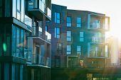 Modern Apartment Flat Building Exterior Sunflare Concept. Sunshine Sun Flare poster