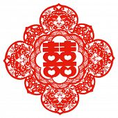 Vector of Traditional Chinese Paper-cut for Happiness--usually pasted on window or wall to celebrate
