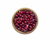 Bowl With Pomegranate Seeds Isolated On White Background. Ripe Pomegranates Close-up. Sweet And Juic poster
