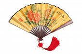 Traditional Chinese fan,Isolated on white background